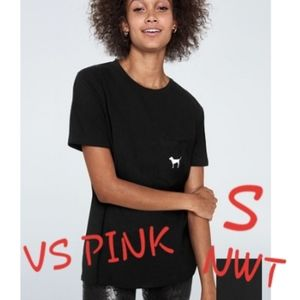 S NWT VS PINK BLK/WHT DOG CAMPUS CREW POCKET TEE